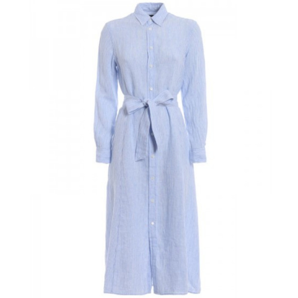 Striped Shirt Polo Ralph Belted Nwt Linen Dress Lauren RL5Aj34